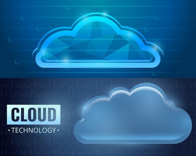 Conjunto de fundo de tecnologia de nuvem, estilo cartoon