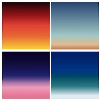 Conjunto de fundo desfocado por do sol abstrato. quadrado fundo desfocado - céu nuvens cores com citações de amor.