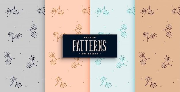 Conjunto de fundo elegante flor estilo tecido padrão