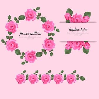 Conjunto de fundo elegante padrão floral