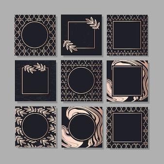 Conjunto de fundo emoldurado com uma arte de vetor de moda design ouro