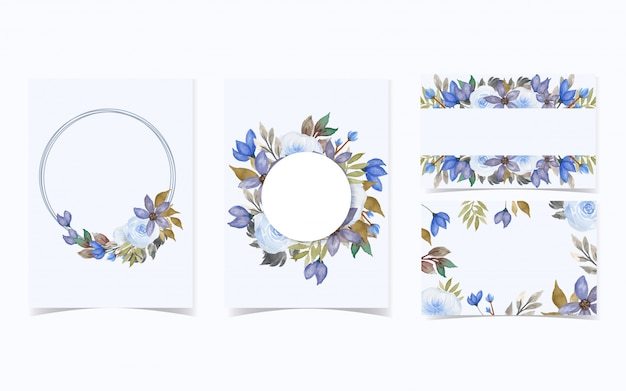 Conjunto de fundo floral para cartão de convite Vetor Premium