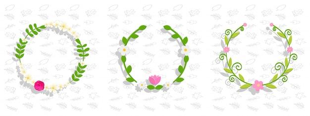 Conjunto de fundo floral verde com flores e folhas