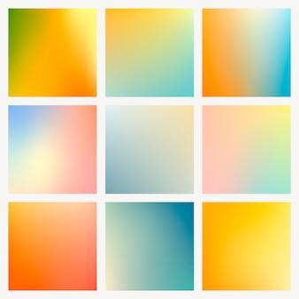 Conjunto de fundo gradiente de verão brilhante