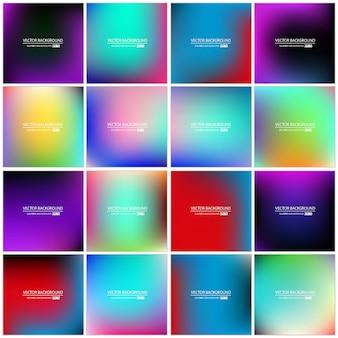 Conjunto de fundo gradiente multicolorido abstrato.