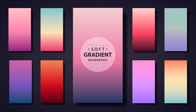 Conjunto de fundo gradiente suave. use para aplicativo de telefone, histórias de papel de parede de rede social, cartão comemorativo, folheto, convite, cartaz, folheto, calendário de banner