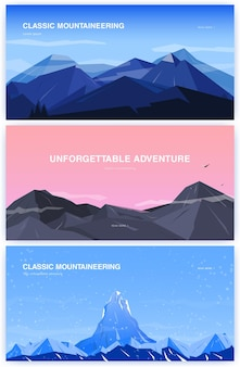 Conjunto de fundo horizontal com montanhas. conceito de montanhismo com lugar para texto. banner em cartoon, estilo simples. ilustração colorida.