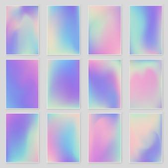 Conjunto de fundo iridescente gradiente de folha holográfica holograma de holograma na moda brilhante