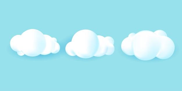 Conjunto de fundo isolado nuvem 3d