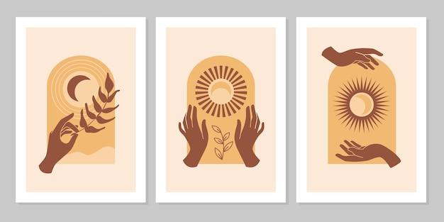 Conjunto de fundo moderno estético boho com folha de sol lua mão conceito espiritual esotérico