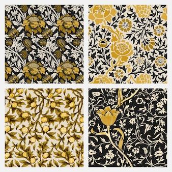 Conjunto de fundo padrão sem emenda de ornamento floral vintage