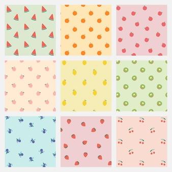 Conjunto de fundo pastel de padrão de frutas vetor