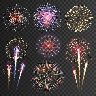 Conjunto de fundo preto de pictogramas de fogo de artifício