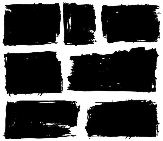 Conjunto de fundo preto grunge