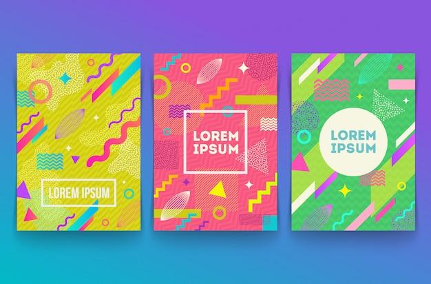 Conjunto de fundo retro estilo memphis abstrato com formas geométricas simples multicoloridas.