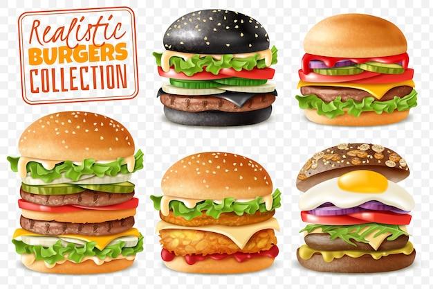 Conjunto de fundo transparente de coleção realista de hambúrgueres