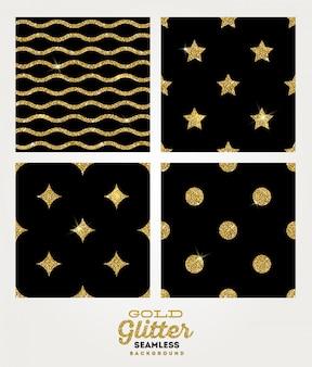 Conjunto de fundo transparente glitter dourados.
