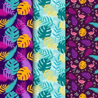 Conjunto de fundo tropical, sem costura padrão floral