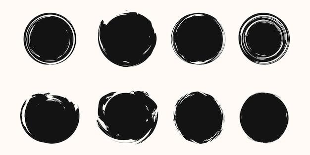 Conjunto de fundo vector grunge, pincelada de círculo.