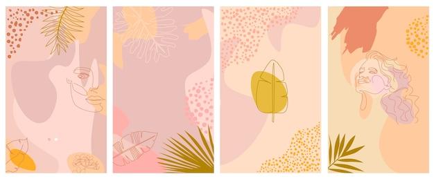 Conjunto de fundo vertical abstrato com elementos tropicais