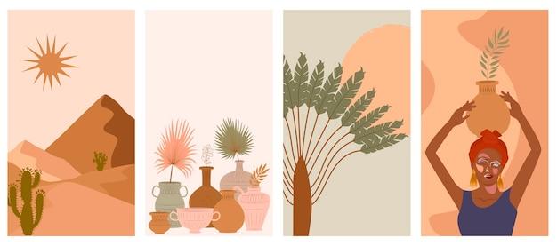 Conjunto de fundo vertical abstrato com mulher no turbante, vaso de cerâmica e jarros, plantas, formas abstratas e paisagem.