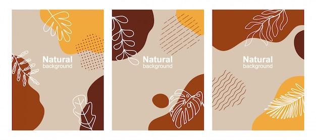 Conjunto de fundos abstratos com espaço de cópia de texto, folhas e plantas.