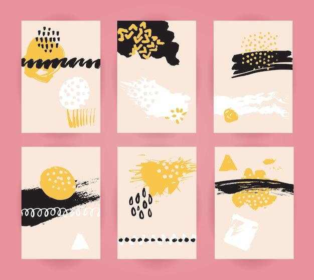Conjunto de fundos abstratos da moda modelos de panfletos e cartões com traços de marcadores de manchas e manchas