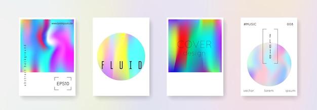 Conjunto de fundos abstratos de holograma. cenário de holograma multicolor com malha de gradiente. estilo retro dos anos 90, 80. modelo gráfico pearlescent para folheto, banner, papel de parede, tela do celular