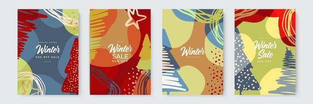 Conjunto de fundos abstratos de inverno banners coloridos de inverno com flocos de neve caindo árvores nevadas wintr ...