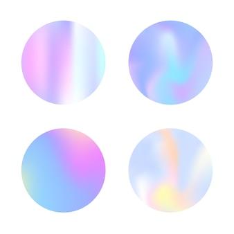 Conjunto de fundos abstratos de malha de gradiente. cenário holográfico líquido com malha de gradiente. estilo retro dos anos 90, 80. modelo gráfico iridescente para banner, folheto, capa, interface móvel, aplicativo da web.