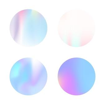 Conjunto de fundos abstratos holográficos. cenário holográfico líquido com malha de gradiente. estilo retro dos anos 90, 80. modelo gráfico perolado para banner, folheto, capa, interface móvel, aplicativo da web.
