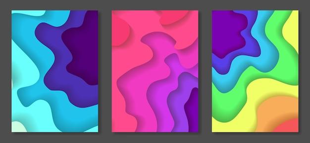 Conjunto de fundos abstratos multicoloridos cortados em papel