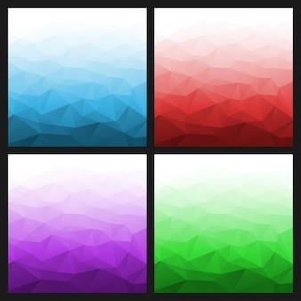 Conjunto de fundos brilhantes geométricos gradientes abstratos. ilustração vetorial
