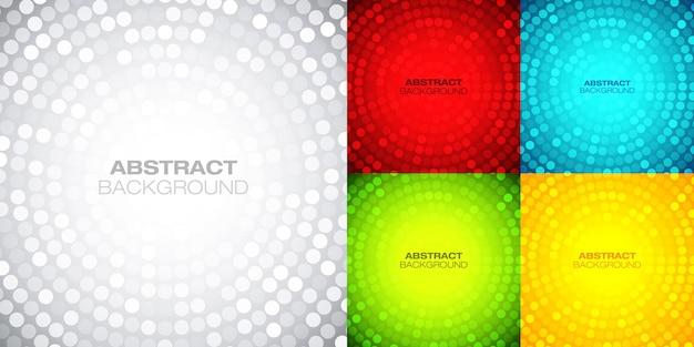 Conjunto de fundos circulares brilhantes. fundo gradiente techno. círculo abstrato moldura colorida.