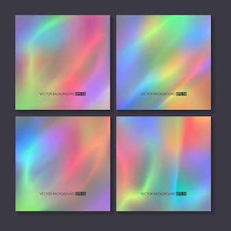Conjunto de fundos coloridos brilhantes de holograma.