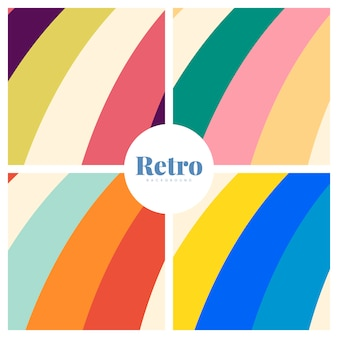 Conjunto de fundos coloridos de impressão retrô