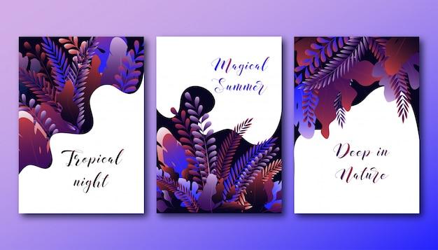 Conjunto de fundos com folhas de floresta gradiente brilhante e texto. floresta mágica noite de verão.