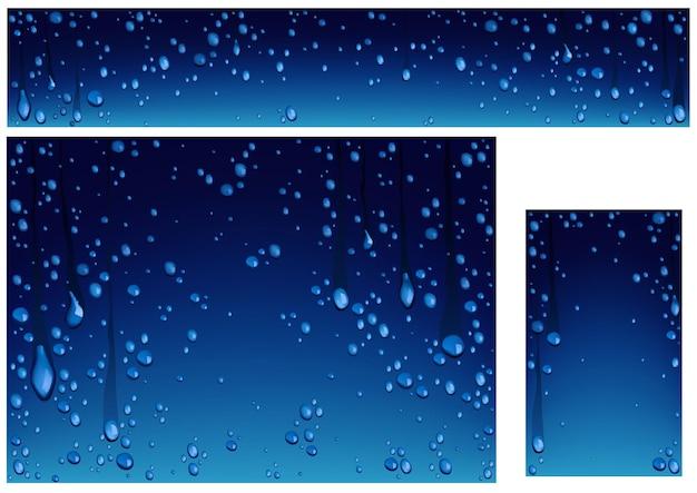 Conjunto de fundos com gotas de água em fundos azuis