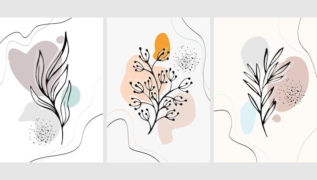 Conjunto de fundos com plantas e abstração
