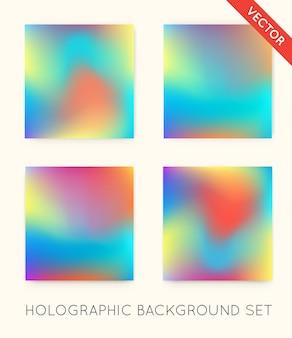 Conjunto de fundos da moda holográficos. pode ser usado para capa, livro, impressão, moda.