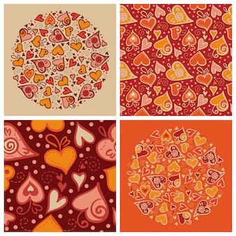 Conjunto de fundos de amor. ilustração do cartão do dia dos namorados e padrão sem emenda com corações abstratos