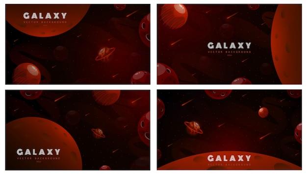 Conjunto de fundos de espaço horizontal com forma abstrata e planetas.