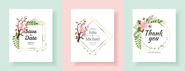 Conjunto de fundos de flores de sakura. modelo de design de cartões de convite de casamento floral. convite de férias, cartões comemorativos e design de moda