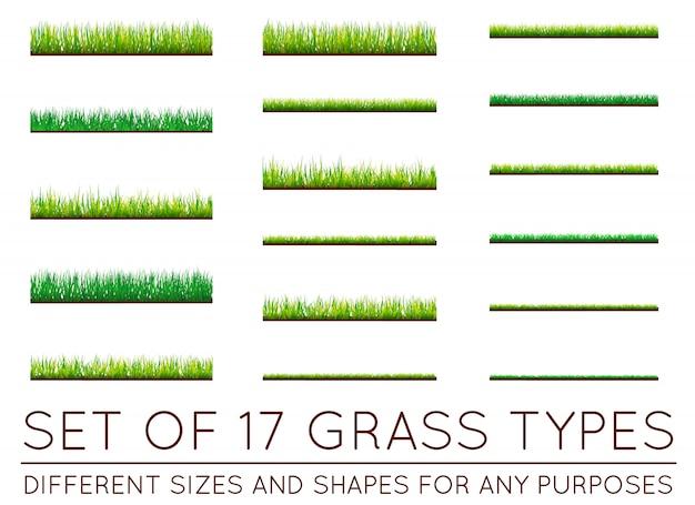 Conjunto de fundos de grama verde