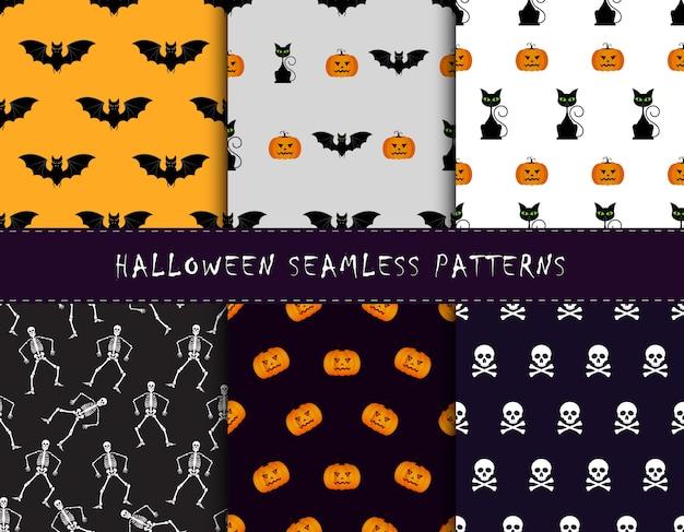 Conjunto de fundos de halloween. coleção de padrões sem costura nas cores tradicionais do feriado. ilustração do vetor