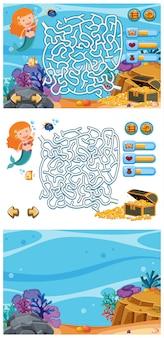 Conjunto de fundos de jogos com sereia e peixe debaixo d'água