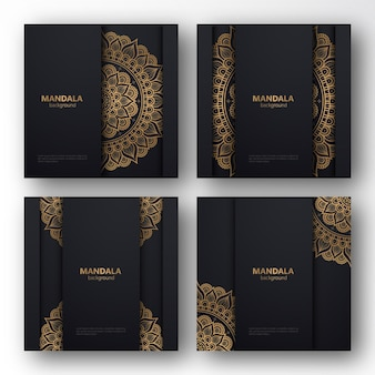 Conjunto de fundos de mandala de luxo Vetor Premium
