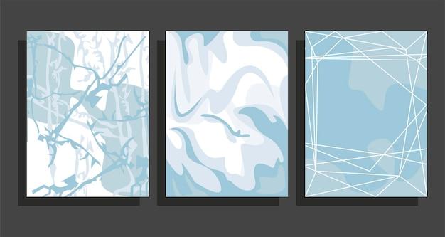 Conjunto de fundos de mármore azul