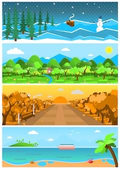 Conjunto de fundos de natureza e paisagens com estações diferentes.