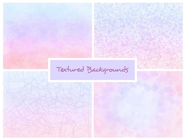 Conjunto de fundos de ombre texturizado rosa e azul